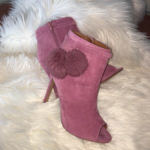 Women's 7 peep toe stiletto pink booties